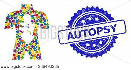 Vibrant Collage Human Anatomy, And Autopsy Unclean Rosette Stamp Seal. Blue Stamp Seal Includes Auto