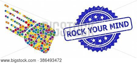 Multicolored Collage Stone Meteorite, And Rock Your Mind Corroded Rosette Seal Print. Blue Seal Incl