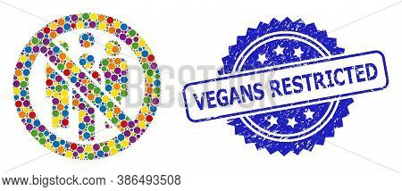 Colored Collage Forbidden Crowd, And Vegans Restricted Dirty Rosette Stamp Seal. Blue Stamp Seal Con