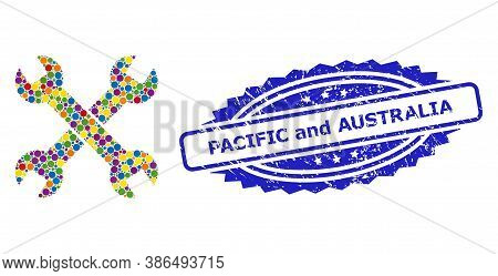 Colorful Collage Spanners, And Pacific And Australia Dirty Rosette Stamp. Blue Seal Has Pacific And