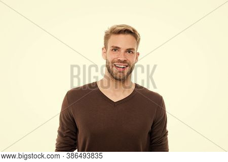 Good Mood. Positive Emotions. Smiling Man White Background. Handsome Man. Unshaven Facial Hair And S
