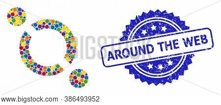 Colored Collage Link, And Around The Web Unclean Rosette Stamp Seal. Blue Stamp Seal Contains Around