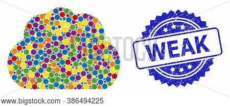 Colored Mosaic Cloud, And Weak Scratched Rosette Stamp Seal. Blue Stamp Seal Contains Weak Tag Insid