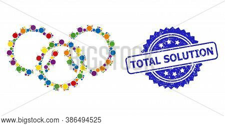 Bright Colored Collage Gears, And Total Solution Grunge Rosette Watermark. Blue Stamp Has Total Solu