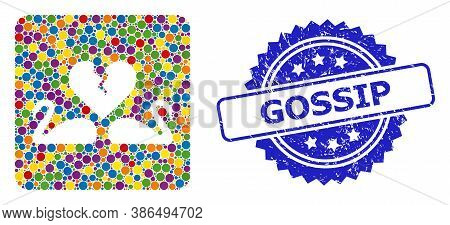 Multicolored Collage Divorce Swans, And Gossip Grunge Rosette Seal Imitation. Blue Seal Contains Gos