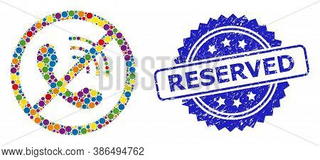 Colored Mosaic No Phone Calls, And Reserved Scratched Rosette Seal Print. Blue Seal Includes Reserve