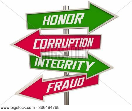 Honor Vs Corruption Integrity Over Fraud Arrow Signs Best Reputation Character Traits 3d Illustration