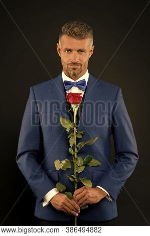 Floristics For Ceremonies. Rich Groom At Wedding. Handsome Man In Tuxedo With Bowtie. Red Rose Symbo