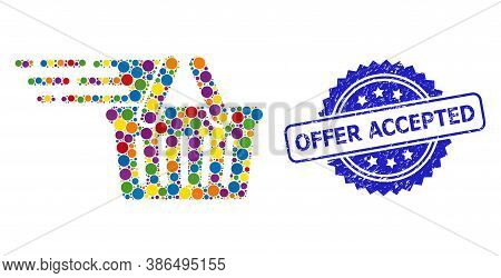 Bright Colored Mosaic Shopping Basket, And Offer Accepted Scratched Rosette Stamp Seal. Blue Stamp S
