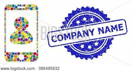 Multicolored Mosaic Smartphone Portrait, And Company Name Scratched Rosette Seal Print. Blue Seal Ha