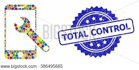 Colorful Collage Smartphone Repair, And Total Control Unclean Rosette Seal Imitation. Blue Stamp Sea
