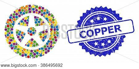 Vibrant Mosaic Tire Wheel, And Copper Unclean Rosette Seal Imitation. Blue Stamp Seal Contains Coppe