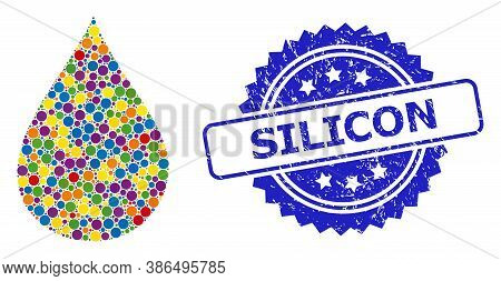 Bright Colored Mosaic Oil Drop, And Silicon Dirty Rosette Stamp Seal. Blue Seal Has Silicon Title In