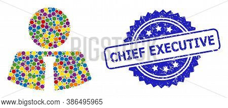 Colored Mosaic Mister, And Chief Executive Scratched Rosette Seal Imitation. Blue Seal Has Chief Exe
