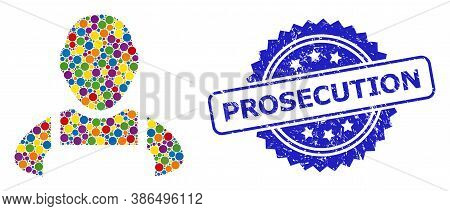 Vibrant Collage Worker, And Prosecution Grunge Rosette Stamp Seal. Blue Seal Includes Prosecution Ca