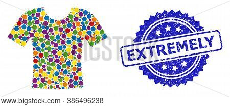 Vibrant Collage Dirty T-shirt, And Extremely Rubber Rosette Seal Imitation. Blue Seal Contains Extre