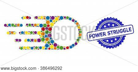 Multicolored Mosaic Photon Flight, And Power Struggle Corroded Rosette Stamp Seal. Blue Stamp Seal I