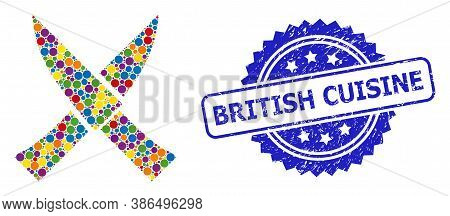 Colorful Mosaic Crossing Knives, And British Cuisine Corroded Rosette Stamp Seal. Blue Stamp Seal Ha