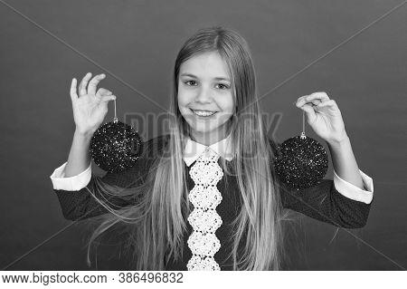 Playful Mood. Christmas Celebration Idea. Happy Face. Shine And Glitter. School Party. Child Hold Sh