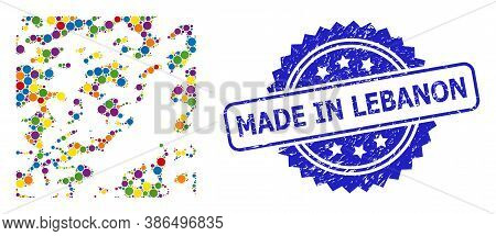 Colorful Collage Destructed, And Made In Lebanon Textured Rosette Seal Imitation. Blue Seal Has Made
