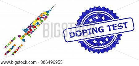 Bright Colored Collage Express Vaccine, And Doping Test Rubber Rosette Stamp Seal. Blue Stamp Seal I