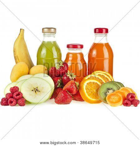 Bottles with juice fruits isolated on white