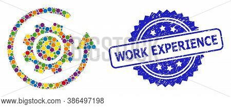 Colorful Collage Gear Rotation, And Work Experience Grunge Rosette Stamp Seal. Blue Seal Has Work Ex