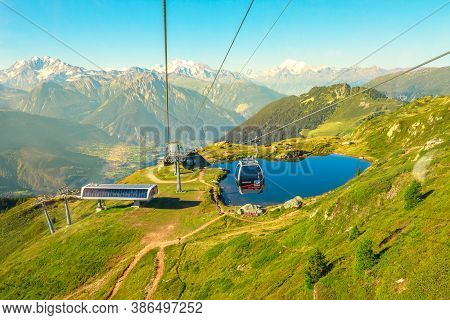 Eggishorn, Switzerland - August 7, 2020: Cable Car To Great Aletsch Glacier, The Largest Glacier In