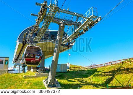 Eggishorn, Switzerland - August 7, 2020: Cable Car Station Of Great Aletsch Glacier, Largest Glacier