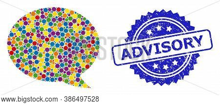 Vibrant Collage Message Cloud, And Advisory Dirty Rosette Stamp Seal. Blue Stamp Seal Has Advisory T