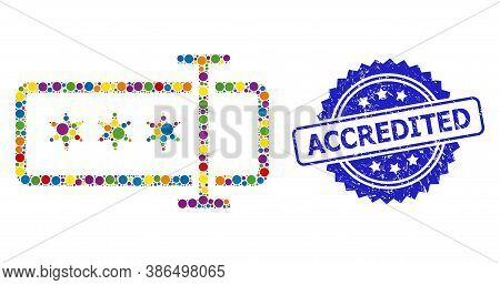 Bright Colored Mosaic Password Field, And Accredited Corroded Rosette Watermark. Blue Stamp Seal Con