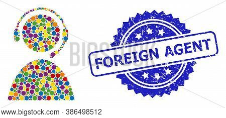 Multicolored Collage Call Center Operator, And Foreign Agent Unclean Rosette Seal Imitation. Blue St