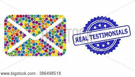 Bright Colored Mosaic Letter, And Real Testimonials Grunge Rosette Seal. Blue Stamp Seal Contains Re
