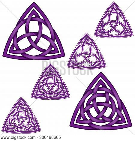 Vector Illustration Of The Symbol Of Wicca, Two Triquetra One Inside Another With Circle, All On Whi