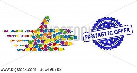 Bright Colored Mosaic Moving Hand, And Fantastic Offer Textured Rosette Seal Print. Blue Seal Contai