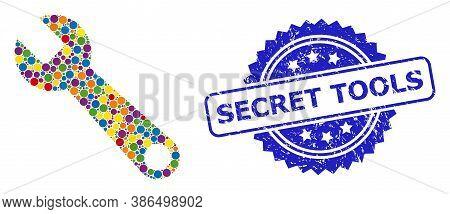 Vibrant Collage Spanner, And Secret Tools Grunge Rosette Stamp Seal. Blue Stamp Seal Contains Secret