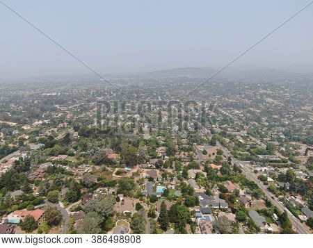 Thick Haze And Smog Over San Diego Due To Wildfire In California. Usa. Air Pollution.