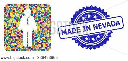 Colored Collage Groom, And Made In Nevada Rubber Rosette Stamp Seal. Blue Stamp Seal Contains Made I