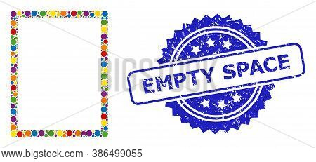 Multicolored Mosaic Empty Page, And Empty Space Grunge Rosette Seal Imitation. Blue Stamp Contains E