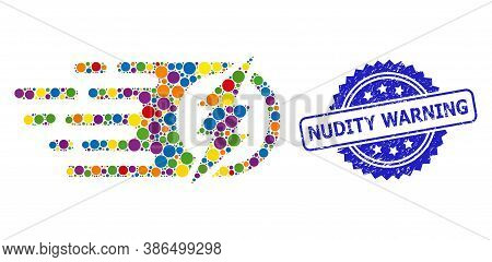 Vibrant Mosaic Electric Spark, And Nudity Warning Textured Rosette Stamp Seal. Blue Stamp Seal Conta