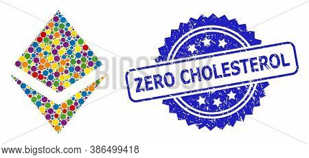 Multicolored Mosaic Crystal, And Zero Cholesterol Corroded Rosette Seal Print. Blue Stamp Seal Inclu