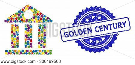 Colorful Collage Museum, And Golden Century Grunge Rosette Seal. Blue Stamp Seal Includes Golden Cen