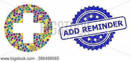 Multicolored Collage Medical Cross, And Add Reminder Dirty Rosette Seal. Blue Stamp Seal Contains Ad
