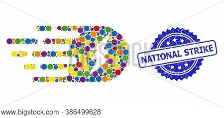 Bright Colored Collage Electric Strike, And National Strike Corroded Rosette Stamp Seal. Blue Stamp