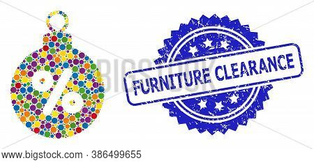 Colorful Collage Christmas Discount Ball, And Furniture Clearance Scratched Rosette Watermark. Blue
