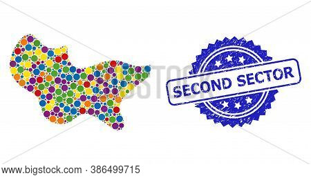 Multicolored Collage Spot, And Second Sector Grunge Rosette Seal Imitation. Blue Seal Contains Secon