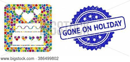 Bright Colored Mosaic Marriage Cake, And Gone On Holiday Rubber Rosette Seal. Blue Stamp Seal Contai