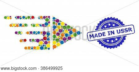 Bright Colored Collage Motion, And Made In Ussr Scratched Rosette Stamp Seal. Blue Stamp Seal Contai