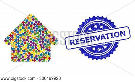 Vibrant Collage House, And Reservation Corroded Rosette Stamp Seal. Blue Seal Has Reservation Captio