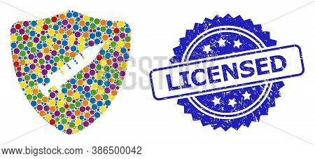 Multicolored Mosaic Shield Vaccine, And Licensed Rubber Rosette Stamp Seal. Blue Stamp Seal Includes